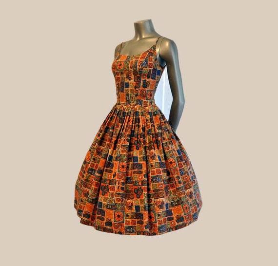 1950s dress / Vintage 50's Dress Novelty Print Full Skirt Flowers Twins Birds Symbols etc.