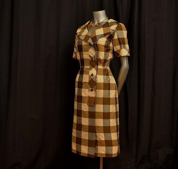 1960s dress / The Good Girl Vintage 60's Silk Plaid Dress