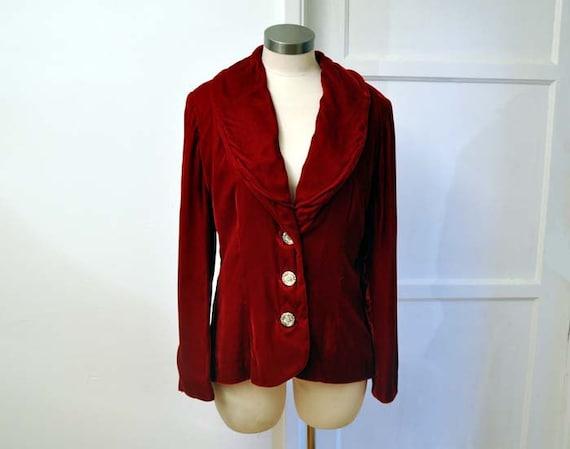 1950s jacket / Holiday Must Have Vintage 50's Red Velvet Fancy Detailed Button Blazer Jacket
