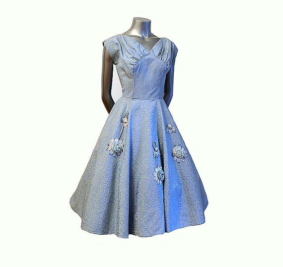 1950s dress / Vintage 50's Big Rhinestone Flower Applique Bias Cut  Full Skirt Party Dress
