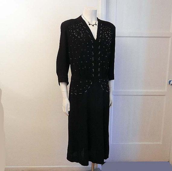 1940s dress / Studded Vintage 40's WWII Crepe Film Noir Ruched Dress