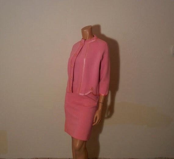 1960s suit  / VIntage 60's Pink Knit Three Piece Sunday Best Suit