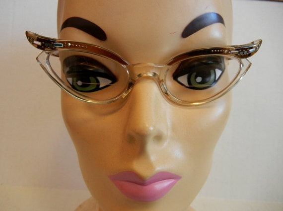 1950s eyeglasses / Swank Vintage 50's Stars and Rhinestones Cateye French Glasses