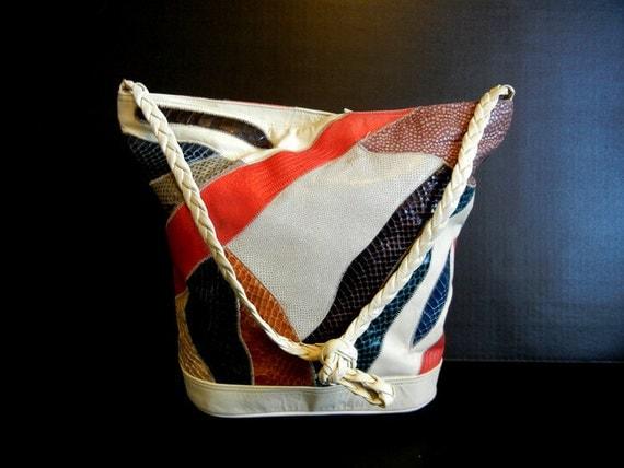 1980s purse / Bimbette Bag Huge Vintage 80's Multi Color Exotic Skin Purse