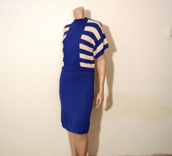 1970s st john / Vintage 70's St. John Blue Striped Leisure Knit Sweater and Skirt Suit