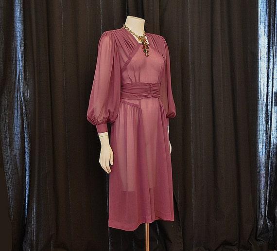 1940s dress / Lovely In Lilac Vintage 40's Sheer Billowy Silk Chiffon Dress