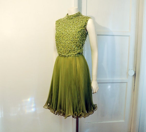 60s dress / Keen In Green Vintage 60's Heavily Beaded Cocktail Party Accordion Pleat Dress