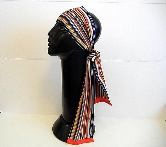 1970s scarf / Vintage 70's Mod Geoffrey Beene Rainbow Stripe Silk Scarf
