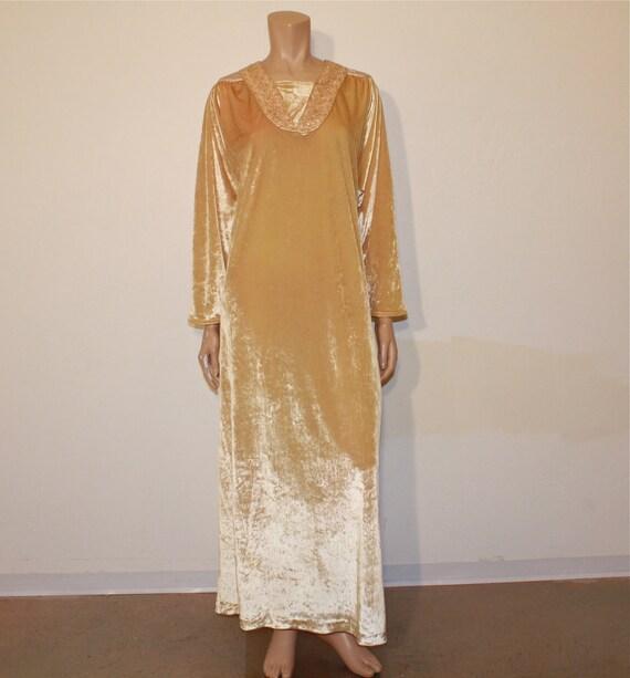 1970's Maxi / Cleopatra Vintage 70's Gold Velvet Bill Tice Maxi Dress