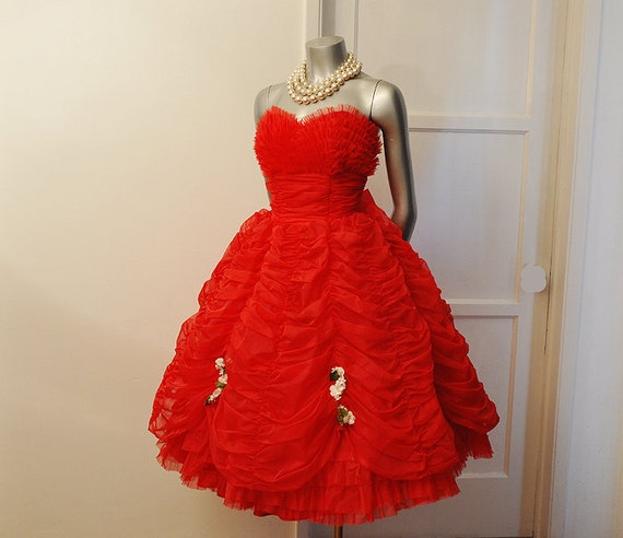 RESERVED For Peta Holland Kelly - 1950's Dress / Vintage 50's Red Strapless Shelf Bust Lace Tulle Prom Party Dress
