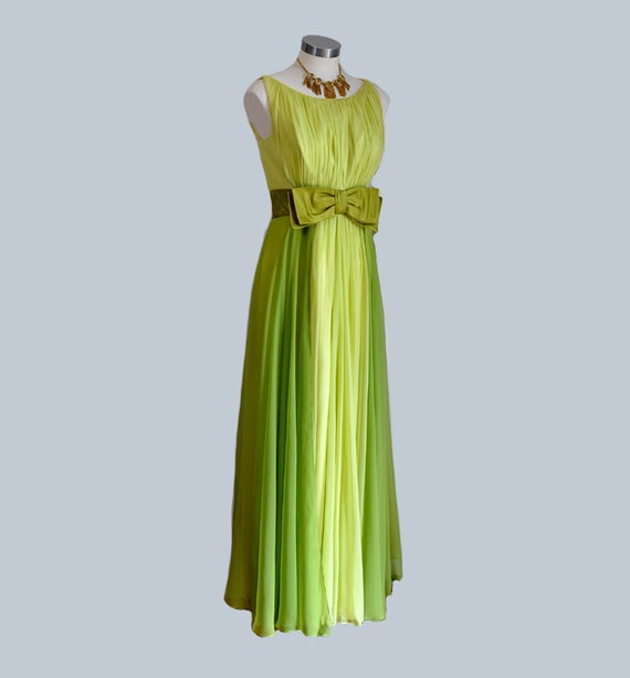 vintage dress / Float on Air Vintage 1960s Two Tone Chiffon Goddess Maxi 60s Dress