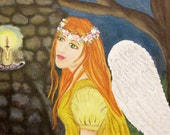 Original OOAK Acrylic Angel Painting Flowers Halo Prayer Canvas Art Piece