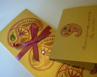 Indian Wedding Invitation, Indian weddng invitation and RSVP Card, Pink Paisley Invite, Ambi design, Gold Pink wedding invitation