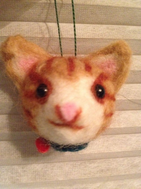 Cat(tabby) needle felted ornament  for cat lover