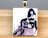 Bettie Page in black and white scrabble pendant- FREE SHIPPING