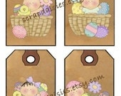 Easter Blessings 2 Baskets - Printable Digital Hang Tags Collage Sheet Country Prim Whimsy