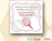 Personalized Birthday Party Cotton Candy, Carnival, Favor labels, gift tags, treats, sticker labels set of 20
