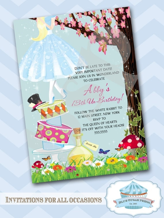 Personalized Birthday Party Alice in Wonderland Invitations Printable DIY