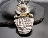 Ancient Mystery - Fine silver, pearl and Amethyst pendant with gold accents