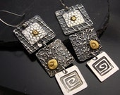 Limited Edition - Attention Grabbers  Silver and 24K Gold Three Square LONG Earrings