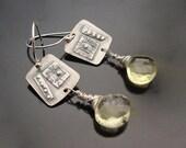 Sassafrass  - Lemon Topaz and Fine Silver Earrings