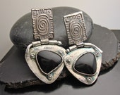 Custom order for Claire. Silver and Black Onyx Post Earrings