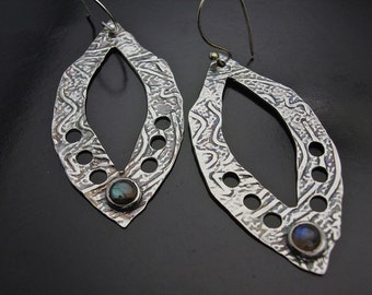 Earrings, silver, labradorite, ON SALE Size Matters - Large Sterling Silver and Labradorite