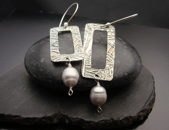 Infatuation - Whispers -  Sterling  Silver and Silver Pearl Earrings