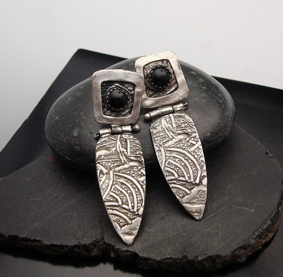 Jungle Fever  Silver and Black Onyx Post Earrings