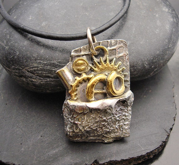 Gearing Up Fine silver and 24 gold accent pendant