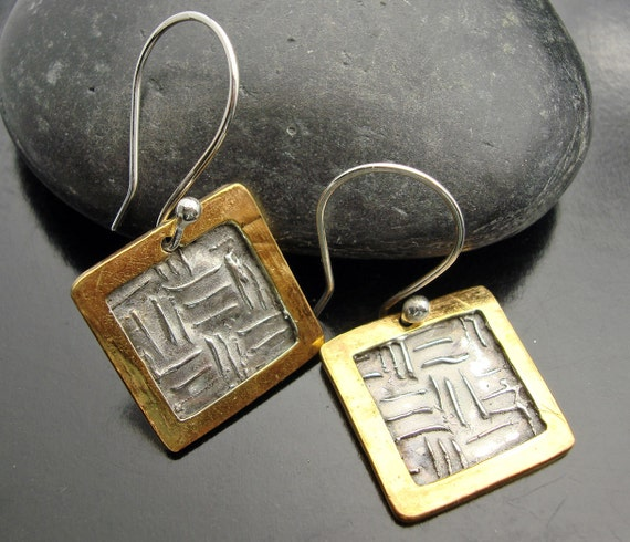 Gold Rush Earrings - Framed silver and Gold Squares