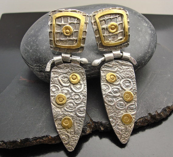 Majestique - Fine Silver and Gold Hinge Earrings