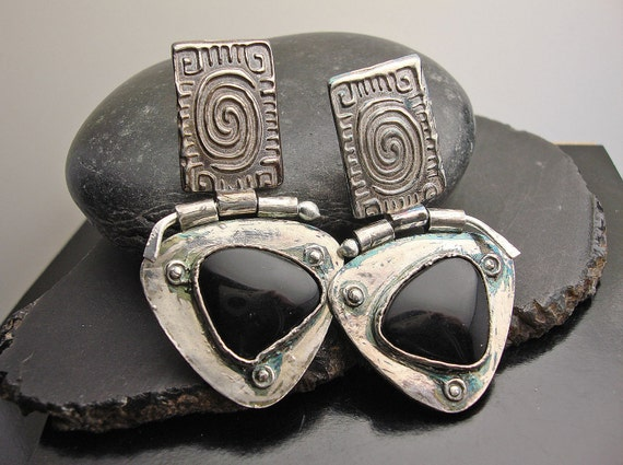 Something about Onyx  - Fine Silver and Black Onyx Post Earrings