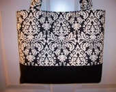 The DAHLIA EDEN Tote in Waverly Black and White Damask Mini Muse THREE BIG POCKETS