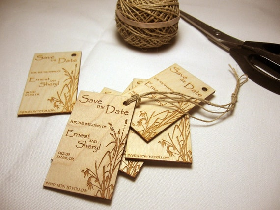 Save the date engraved wood wedding announcements