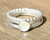 Pearl and Silver Ring Stack -- Lily of the Valley Ring Stack