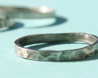 Stacking Ring - Thin Hammered Sterling Silver Ring