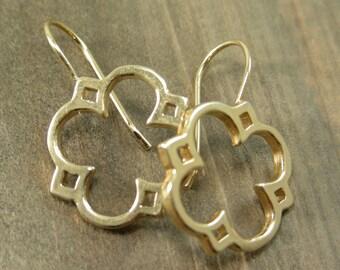 Gold Quatrefoil Dangle Earrings - Jewelry