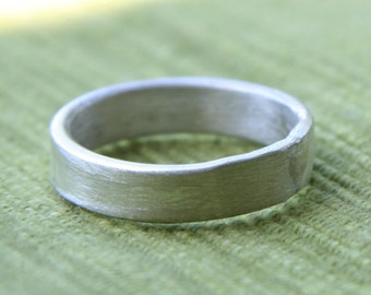 Thick Brushed Sterling Silver Ring