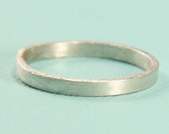Silver Band -  Silver Ring - Thin Brushed Sterling Silver Ring - Stacking Ring