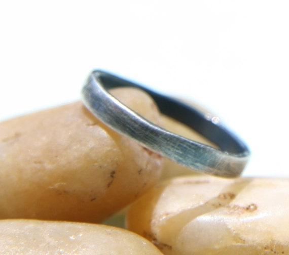Blackened Silver Ring -  Simple Silver Stacking Ring