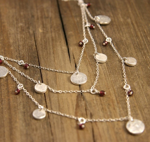 Silver Tiered Necklace with Garnet