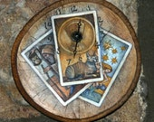 RESERVED - The Clock Tarot - Rustic hand-painted folktale clock