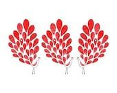 Three Little Peacocks Art Print - Red, Bird Illustration, Animal Illustration, Drawing, Illustration, Kids room art, Nursery room Art