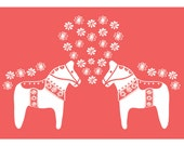 Lovely Horse in LOVE Coral Heart Flower Pattern Wedding Birthday Anniversary gift Home decor Art for kids Large Poster 13X19