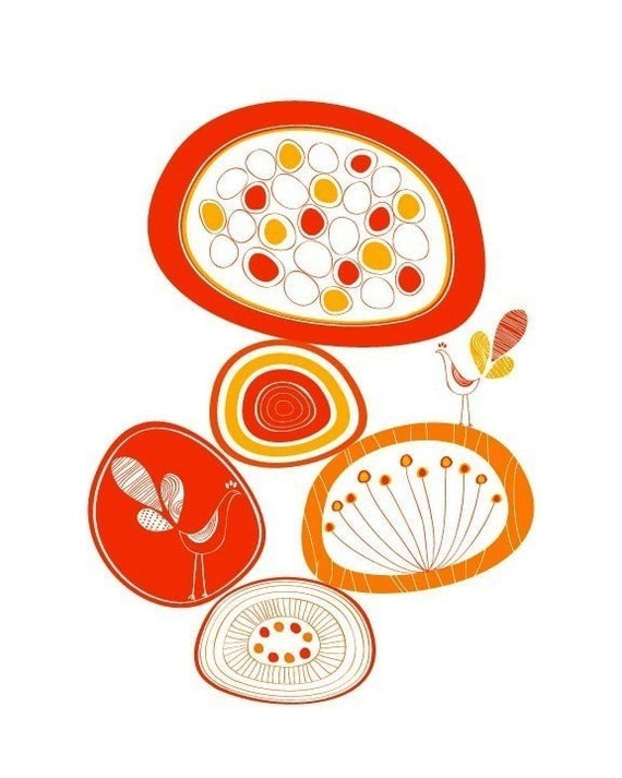 Oval shaped Flowers Print / Orange / Yellow