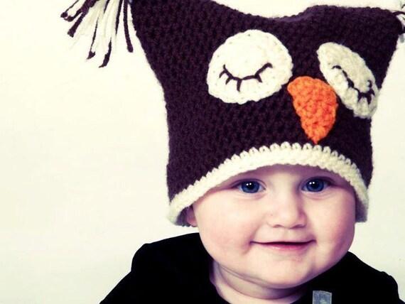 Crochet Infant Owl Hat.  Newborn Crochet Hat, Owl Hat, Baby Girl Hat, Baby Boy Hat, Newborn Crochet Hat, Photography Prop