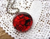 Red And Black Abstract Fine Art Photography Pendant - Strawberry Swirl