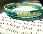 Beaded Memory Wire Bracelet - Coral Reef