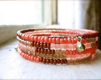 Beaded Wrap Cuff Bohemian Bracelet Glass Beads- Terra Cotta